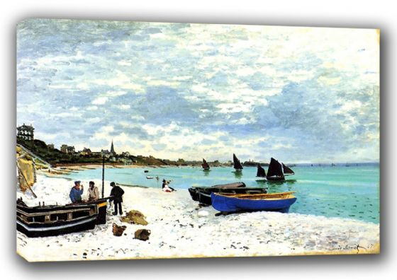 Monet, Claude: On the Beach at Sainte-Adresse. Fine Art Landscape Canvas. Sizes: A3/A2/A1 (00768)